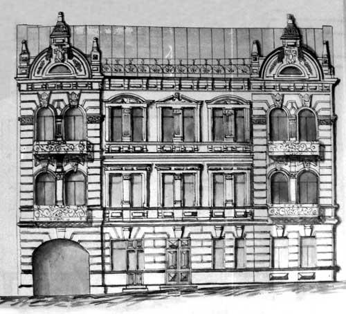 Главный фасад корпуса «А» в 1900-х гг. Чертёж. ДАХО
