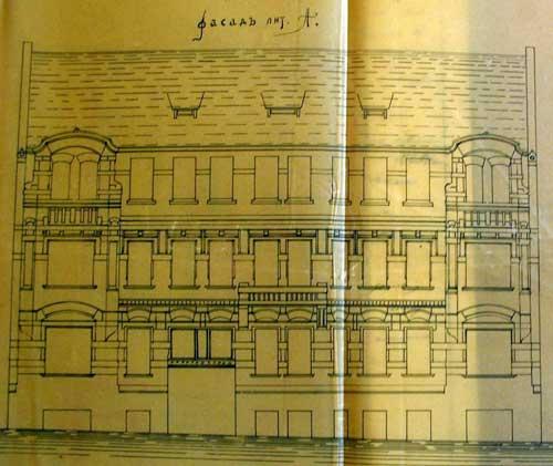 Старинный чертеж доходного дома Бокк